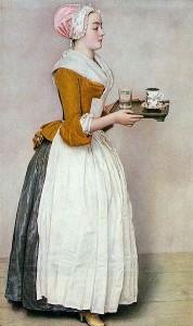 Servante apportant le chocolat au XVIIe siècle